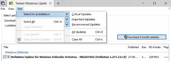 set type of updates