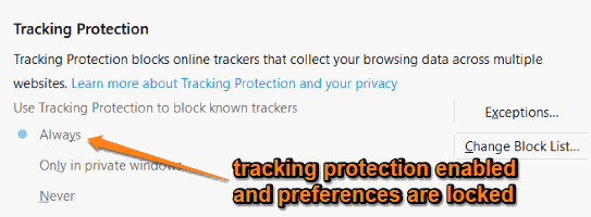 tracking protection enabled and preferences are locked