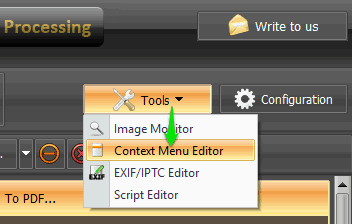 use context menu editor option