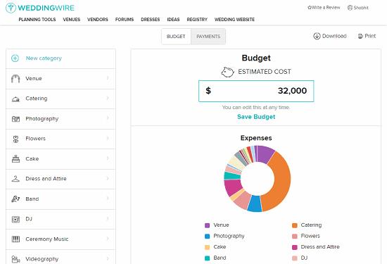 online wedding budget planner