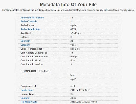 Online Video Metadata Viewer