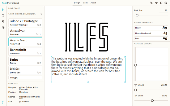 variable width font