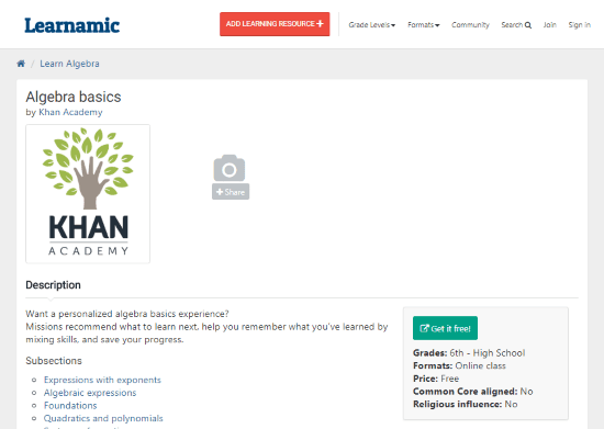 Learnamic: Find educational resources across the Internet