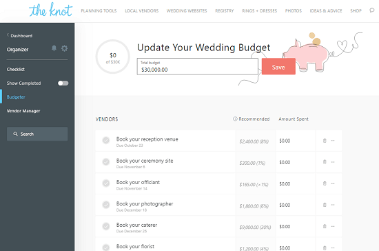 free website to plan weeding budget online