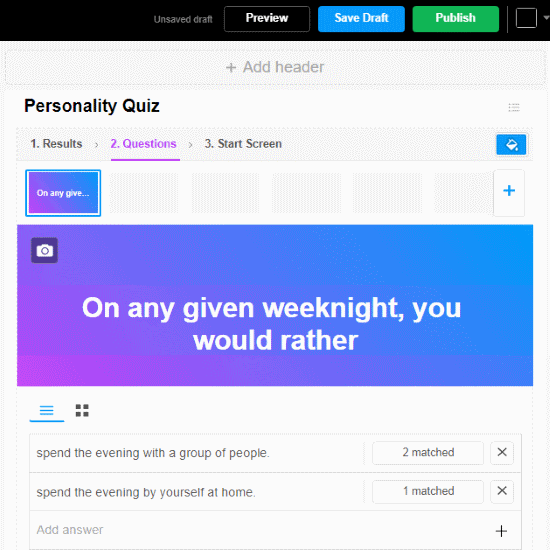 online free personality quiz maker