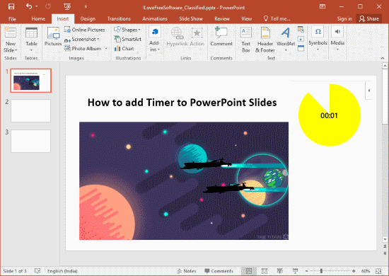 add timer to PowerPoint Slides