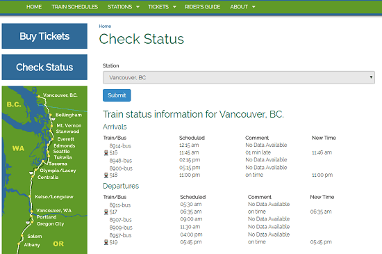 check Amtrak trains status
