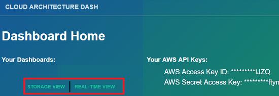 Cloud architecture dashboard main interface