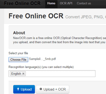 free online ocr no size limit