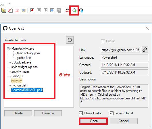NppGist list available gists