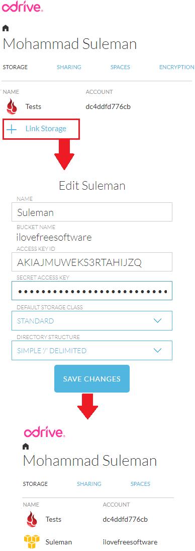 Odrive add s3 cloud to link