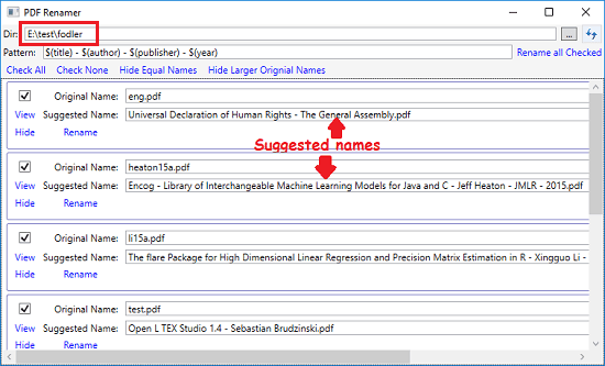 PDF Renamer suggesting names