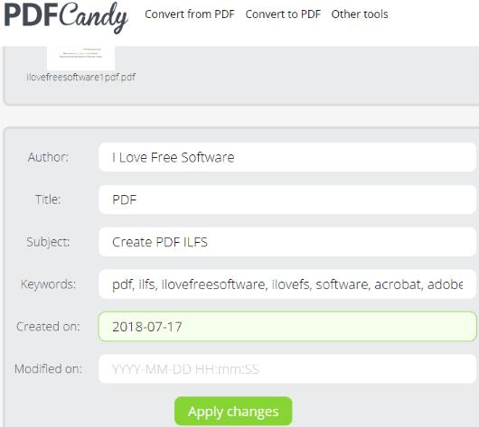 PDFCandy PDF metadata editor