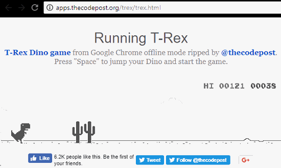Play T-Rex Game of Chrome Online Free in these Websites