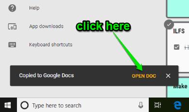 click open doc option