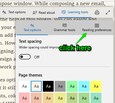 click reading preferences section