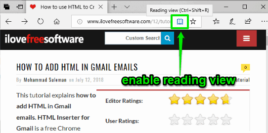 enable reading view