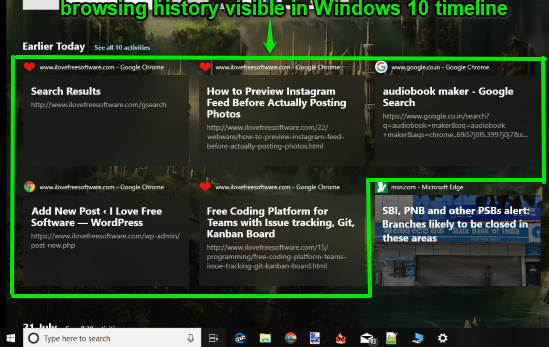 google chrome browsing history visible in windows 10 timeline