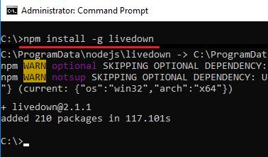 install livedown through command line