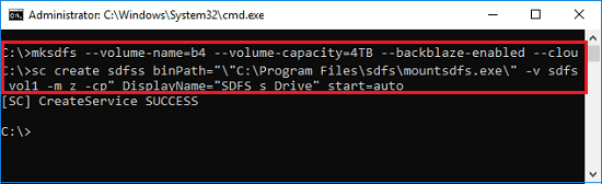 mksdfs create auto start service to mount virtual drive to b2
