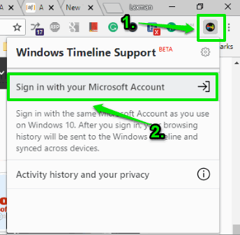 open extension pop-up and sign in with your microsoft account