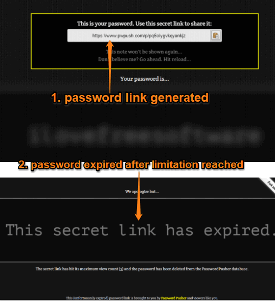 password generated and then link deleted after limitation reached