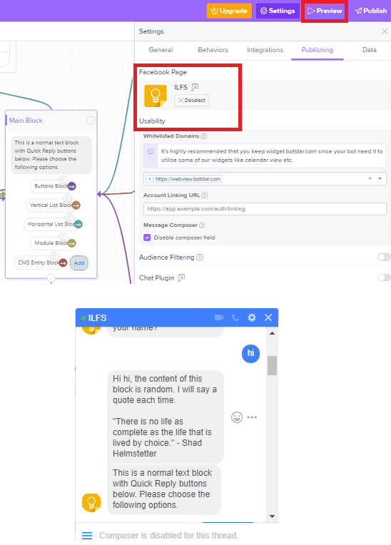 publish bot to facebook