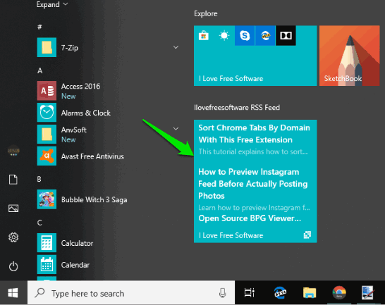 rss feed live tile added to windows 10 start menu