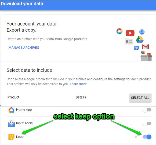 select keep option