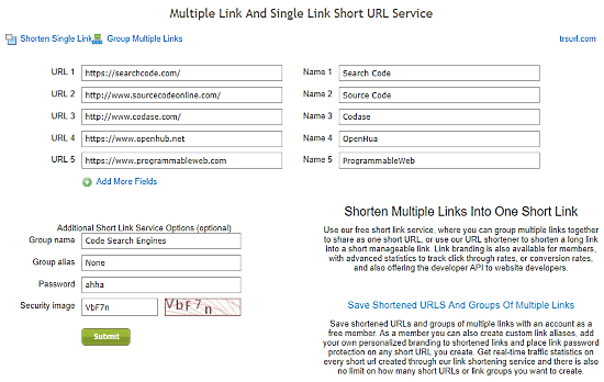 share multiple URLs as one