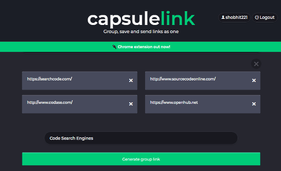 share multiple links as a single URL
