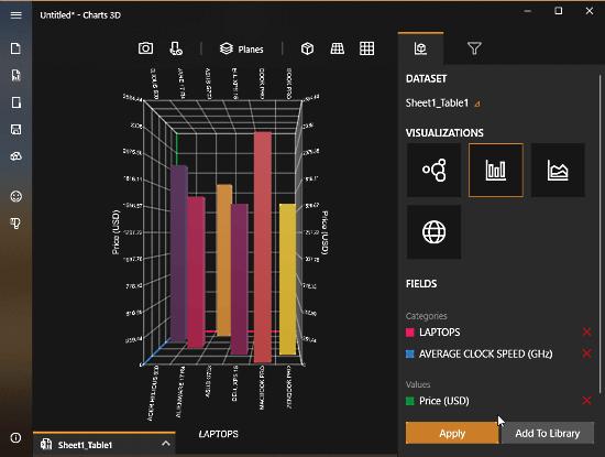 MIcrosoft Chart 3D - 3D Bar Chart
