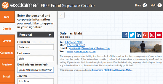 Exclaimer free email signature