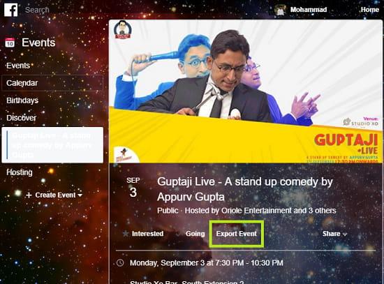 Export an Event from Facebook to Google Calendar