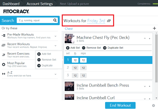 Fitocracy free work out log book online