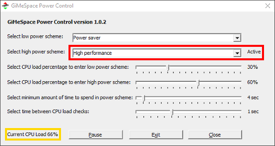 automatically change power plan based on CPU load