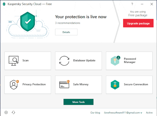 Kaspersky Security Cloud free- interface