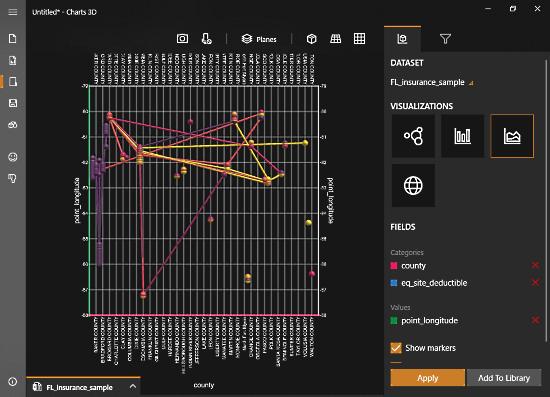 MIcrosoft Chart 3D - 3D Line Chart