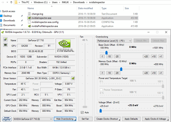 Nvidia Inspector in action