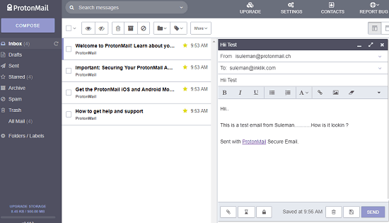 ProtonMail free secure and encrypted email service