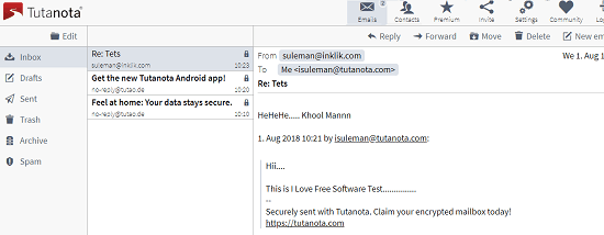 Tutanota free secure encrypted email service