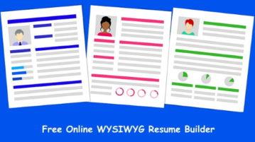 Free WYSIWYG Resume builder to design Resume Online, Download PDF