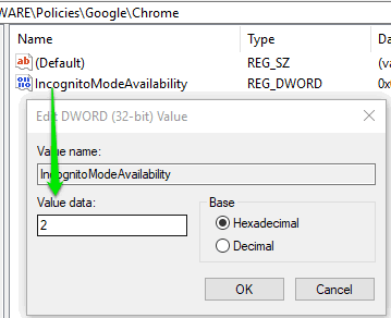 add 2 as value data