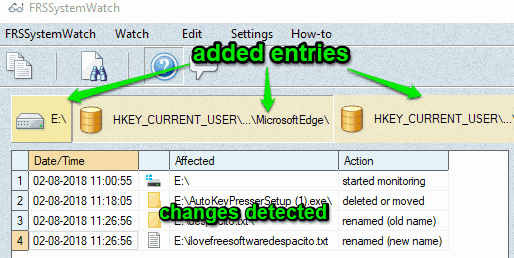 added entries and changes detected in selected entry