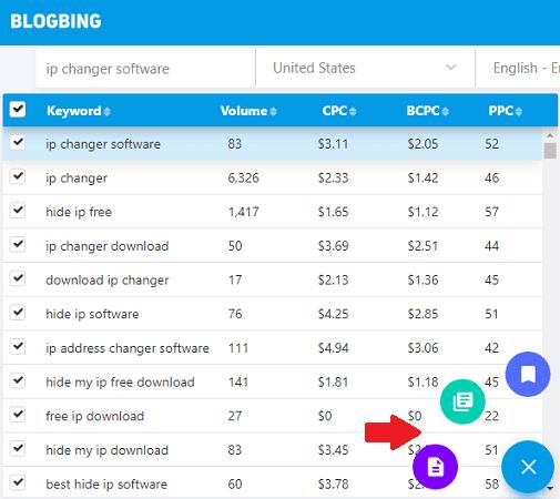 blogbing export keyword data