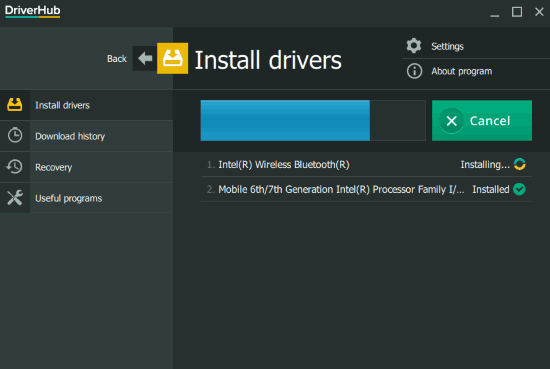 driver installation in progress