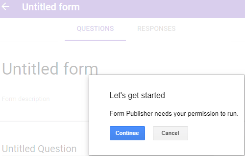 form publisher allow access to google drive