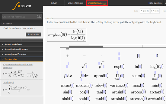 fxSolver create custom formula