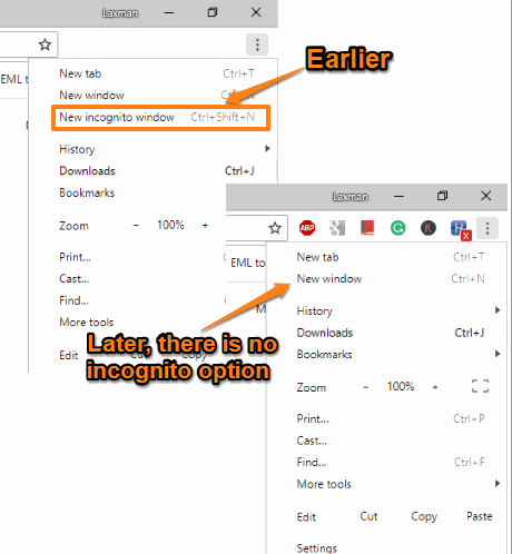incognito mode disabled in google chrome