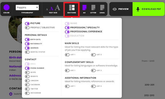 free wysiwyg resume builder to design resume online  download pdf